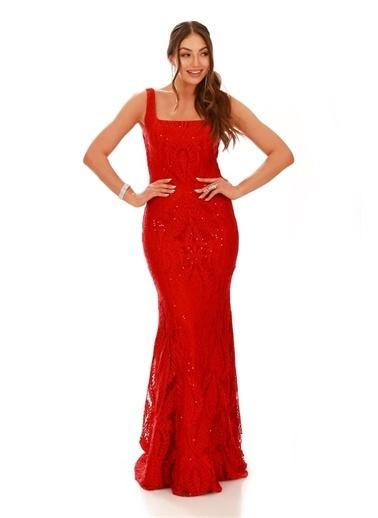 Carmen Carmen Kırmızı Dantel Kare Yaka Uzun Abiye Elbise Kırmızı